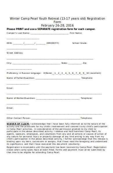 formal camp registration form