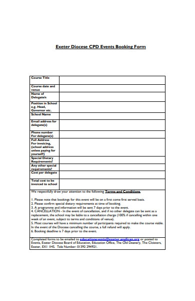 formal event booking form sample