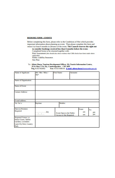 formal event booking form