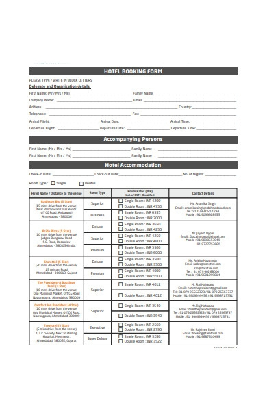 formal hotel booking form