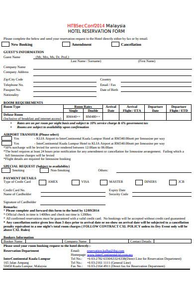 formal hotel reservation form