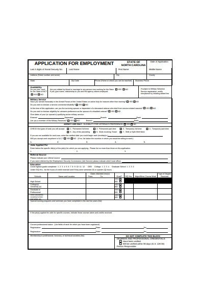 formal job application form example