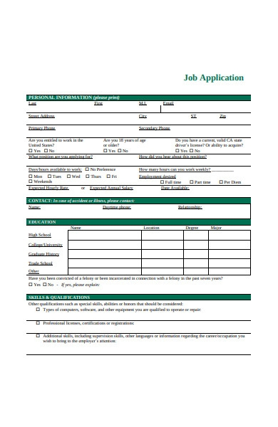 formal job application form