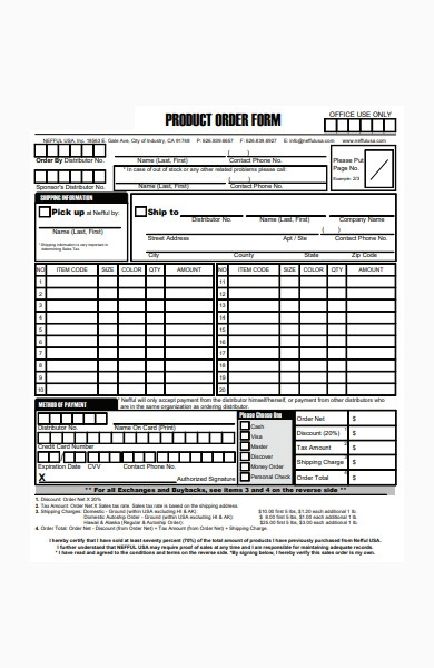 formal product order form in pdf