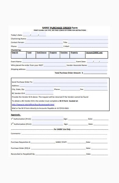 formal purchase order form