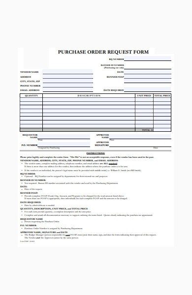 formal purchase order request form
