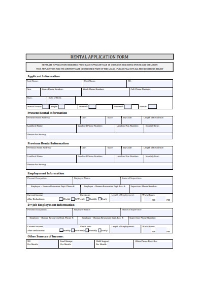 formal rental application form