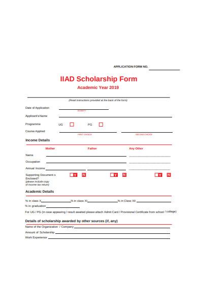 formal scholarship application form