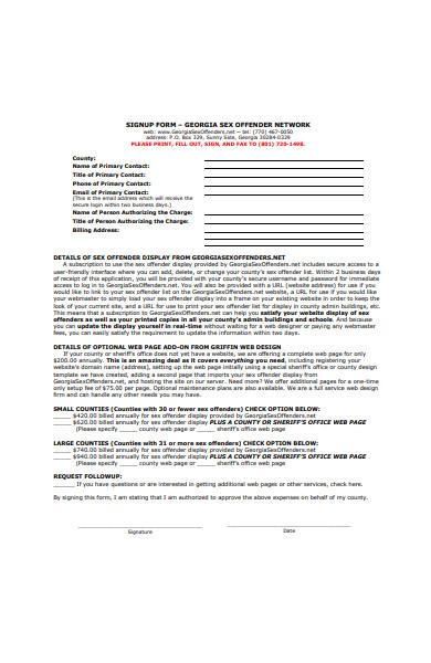 formal signup form