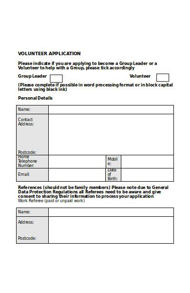 formal volunteer application form