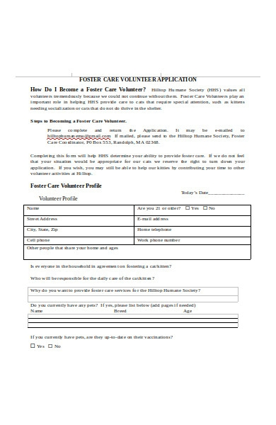 foster care animal shelter form