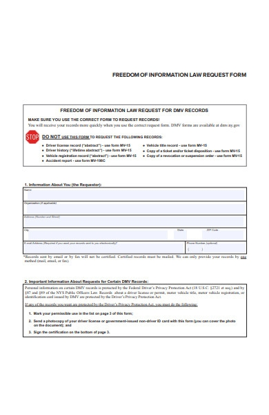 freedom of information law request form