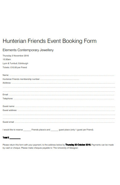 friends event booking form