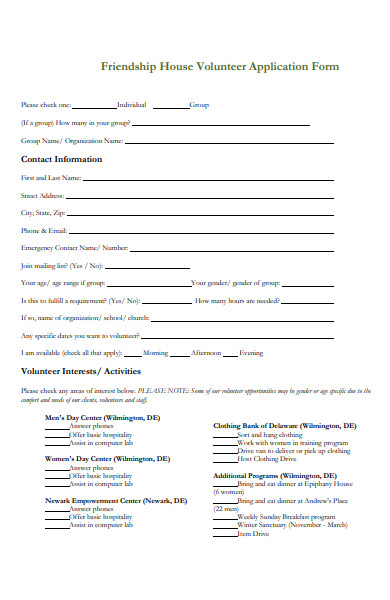 friendship house volunteer application form
