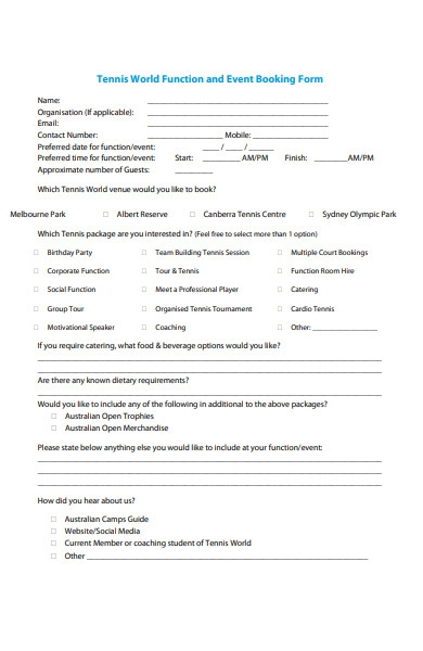 function and event booking form