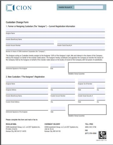 fund custodian change form