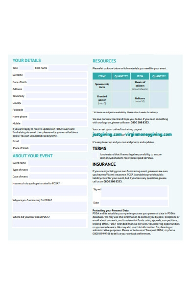 fundraising event registration form