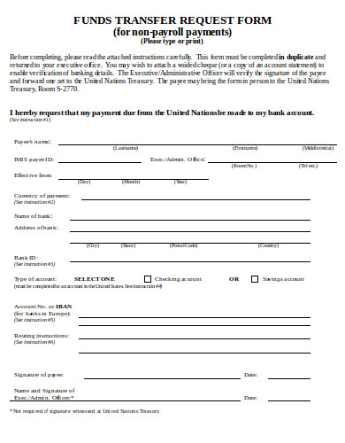 funds transfer request form