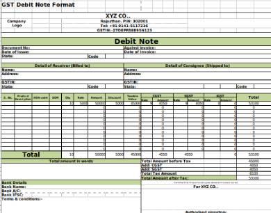 gst debit note form