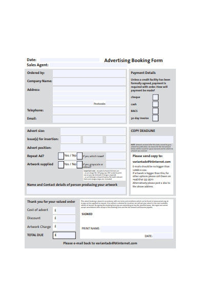 general advertising booking form