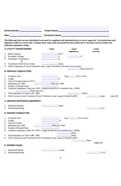 general calculation form