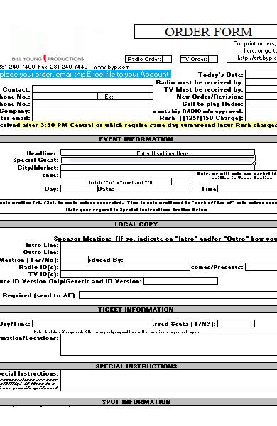 general delivery order form