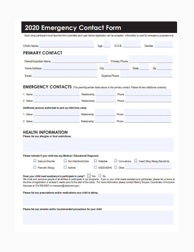 general emergency contact form