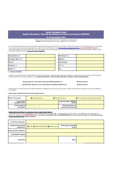 general event booking form