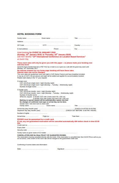 general hotel booking form