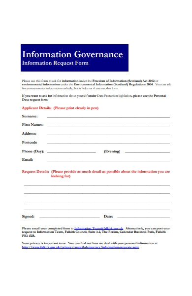 general information request form