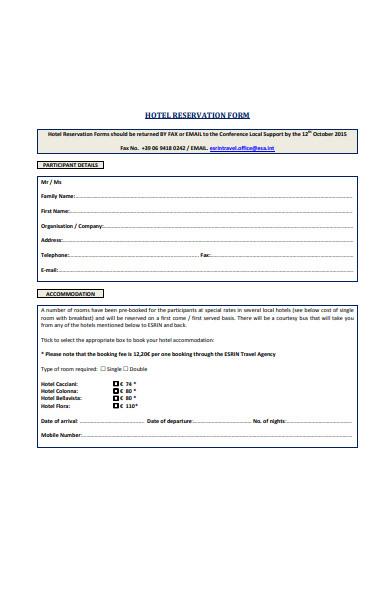 general reservation form