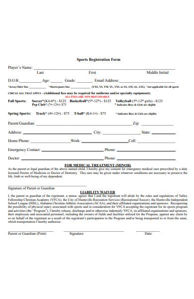general sports registration form
