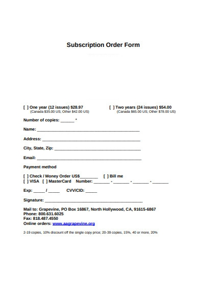 gift subscription forms