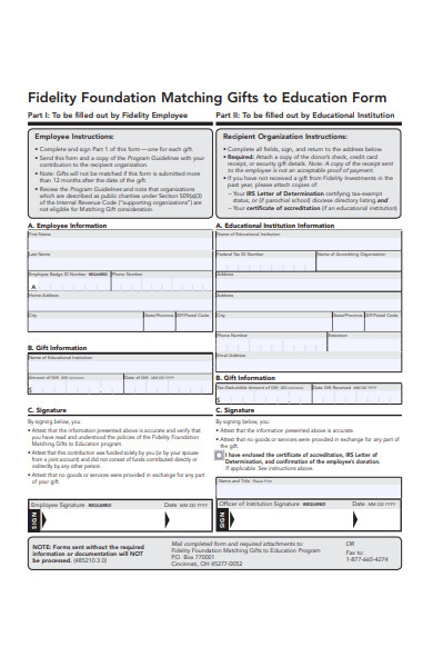 gifts to education form