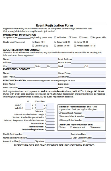 girl scout event registration form