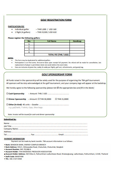 golf registration form