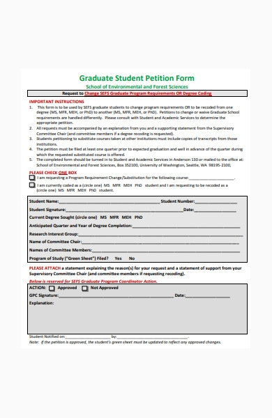 graduate student petition form in pdf