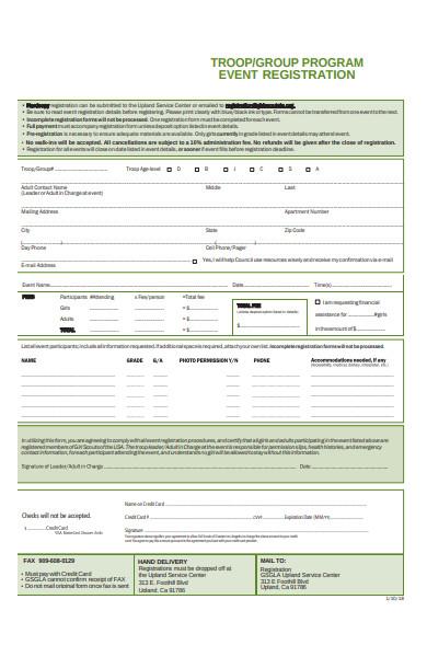 group program event registration form
