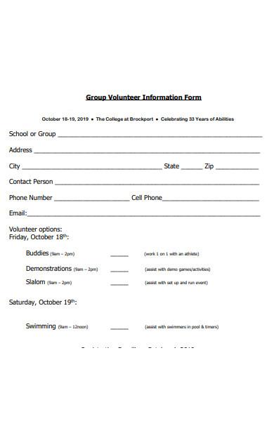 group volunteer information form