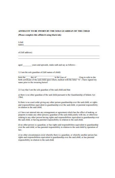 guardian affidavit form