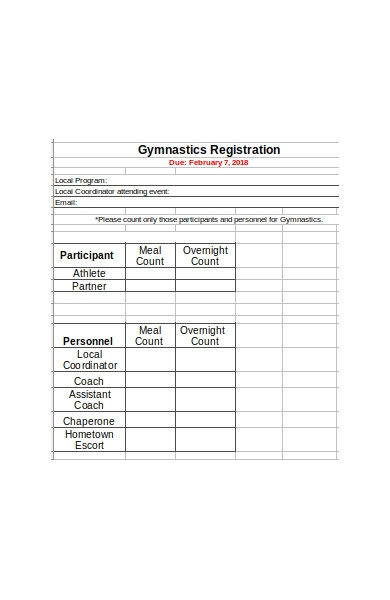 gymnastic event registration form