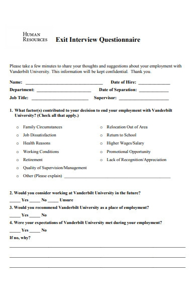 hr exit interview questionnaire form
