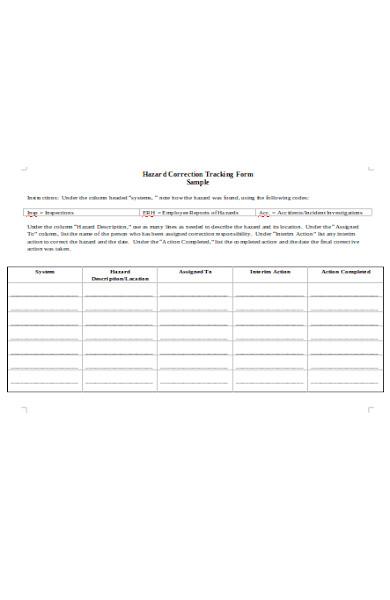 hazard correction tracking forms