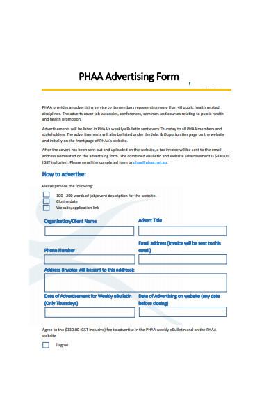health advertising form