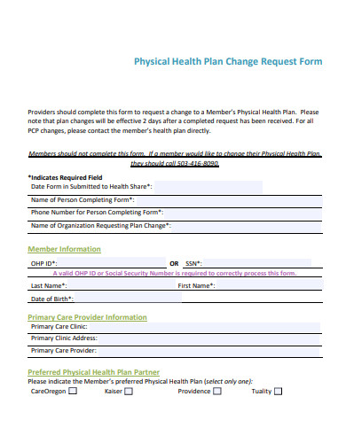 health plan change request form