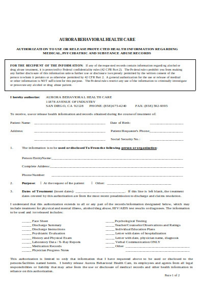 healthcare authorization form