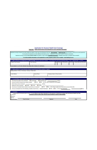 healthcare coverage form