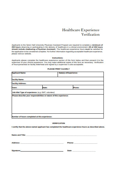 healthcare experience verification form
