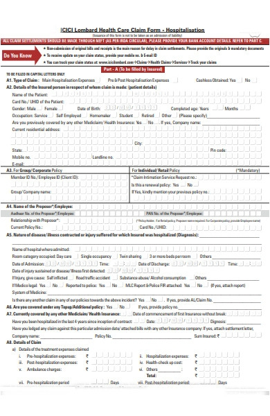 healthcare form sample