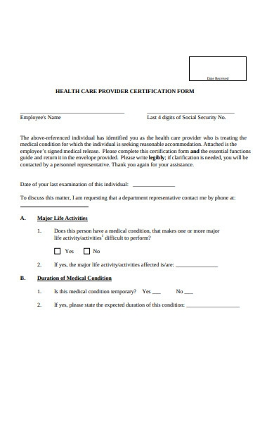healthcare provider certification form